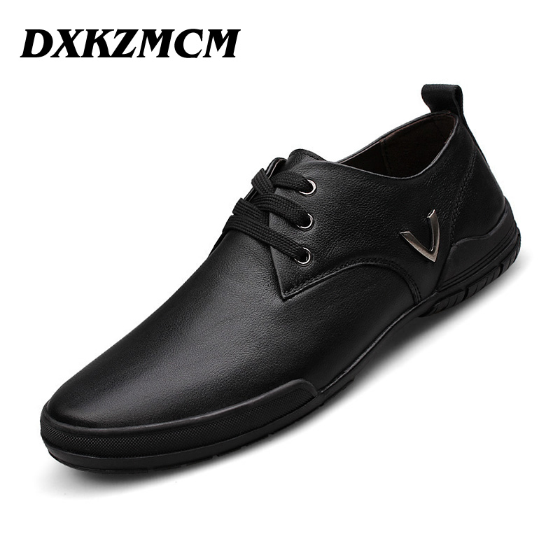 DXKZMCM 2017 Men Casual Shoes Men Shoes CowLeather Lace-up  Fashion Driving Loafers Business Men Flats dxkzmcm men casual shoes lace up cow leather men flats shoes breathable dress oxford shoes for men chaussure homme