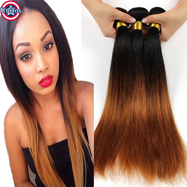 Brazilian Straight Ombre Hair Extensions Colored Two Tone Hair Weave