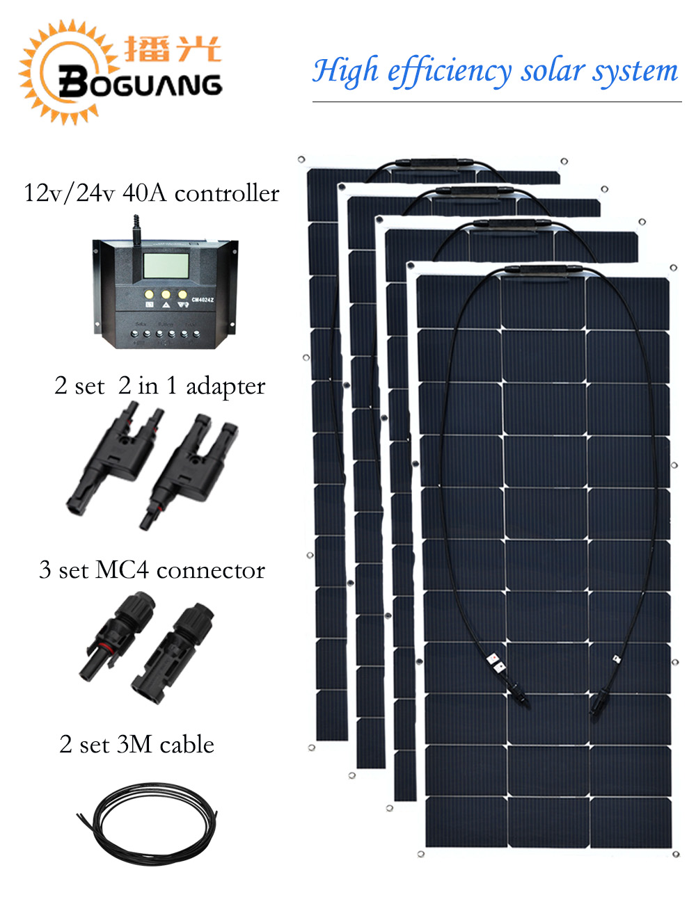 Boguang12v/24v /40A controller  400w flexible solar panel cell  2 in 1 adapter MC4 connector cable 12v battery RV yacht boat boguang 500w semi flexible solar panel solar system efficient cell diy kit module 50a mppt controller adapter mc4 connector