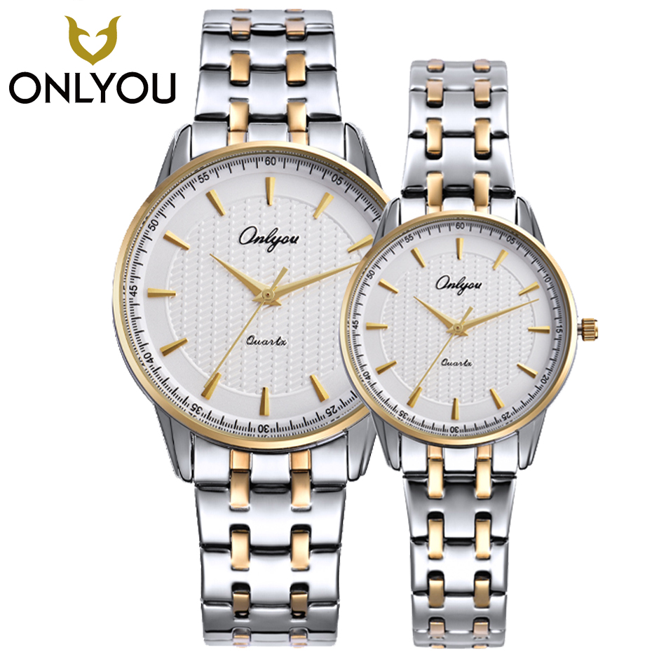 ONLYOU Lovers Watch Brand Fashion Ladies Business Men Gold Silver Casual Quartz Watch Women Bracelet Stainless Steel Strap Clock mike 8831 men s business casual quartz watch silver blue