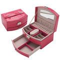Free shipping 2015 Morestar Leather Casket for Jewelry Crocodile Jewelry Boxes &Packaging Mirror Jewelry Organizer Birthday Gift