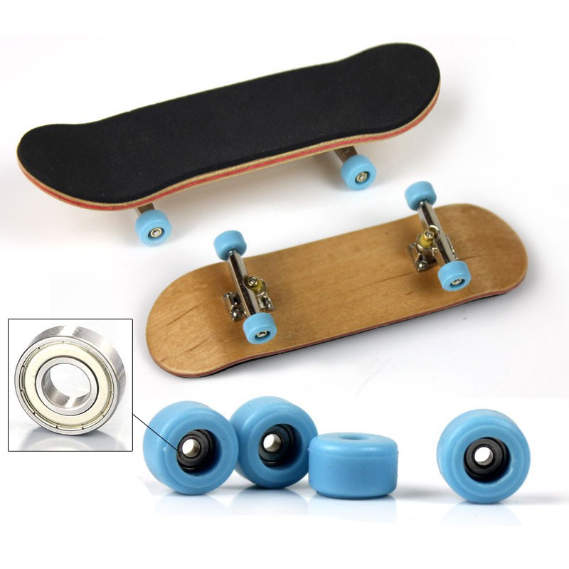 2019 Professional Type Bearing Wheels Skid Pad Maple Wood Finger Skateboard Alloy Stent Bearing Wheel Fingerboard Toys Multicolo