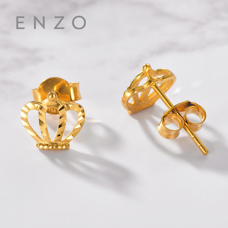 Enzo Pure 18K Gold Crown Earring Bird Jewelry Women Miss Girls Gift Party Female Stud Earrings Solid Hot Sale Good Trendy real 18k gold jewelry heart earring women miss girls gift party female ear wire drop earrings solid hot sale new good trendy