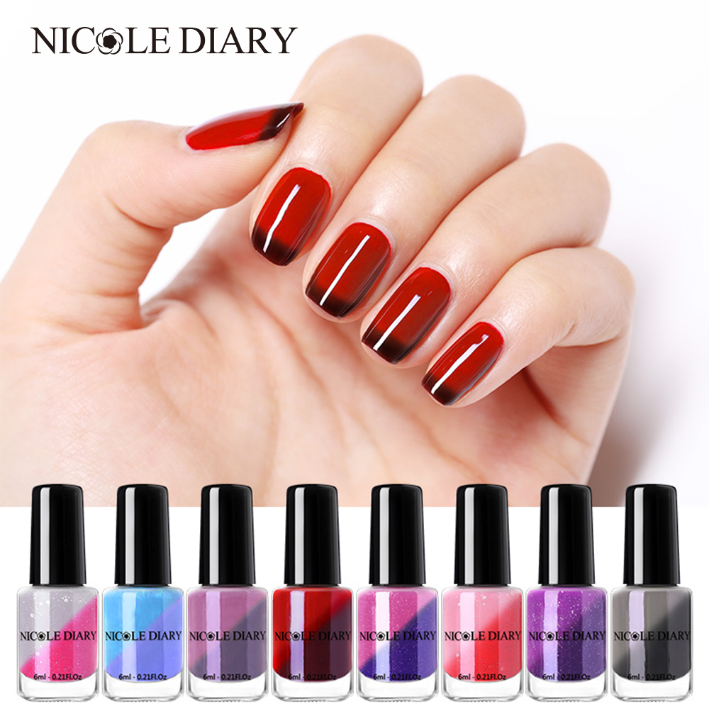 NICOLE DIARY Thermal Nail Polish Glitter Temperature Color Changing Water-based Varnish Shinny Shimmer Peel Off Nail Lacquer steel casing pipe