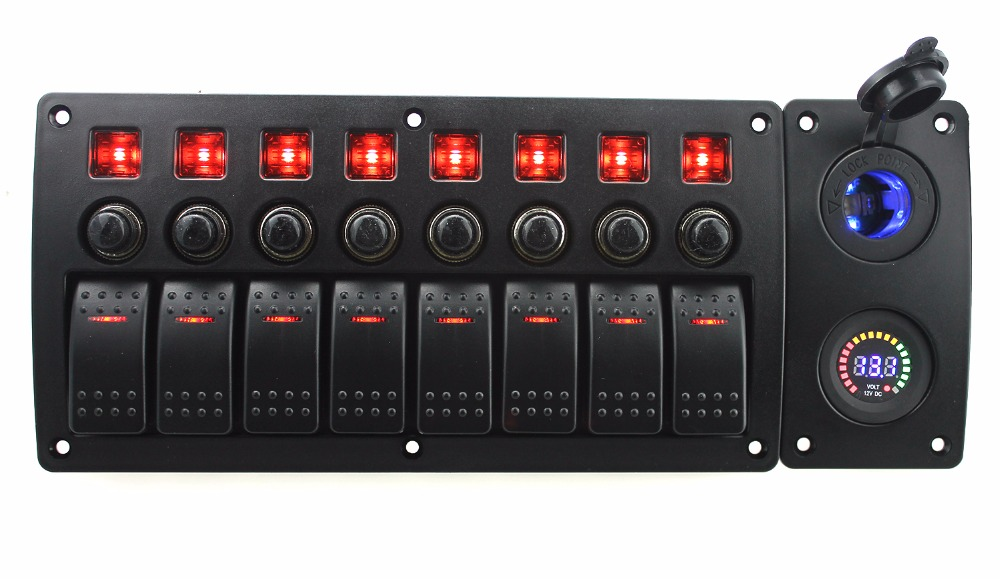 IZTOSS red led DC12V 8 Gang on-off rocker switch curved panel led power sockets 12V voltmeter and circuit breaker with label sti yellow led on off rocker switch w terminal protector set for electric appliances 2 pcs