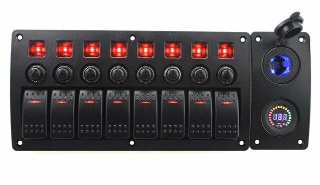 IZTOSS rote led DC12V 8 Gang ein aus wippenschalter gebogene panel ...