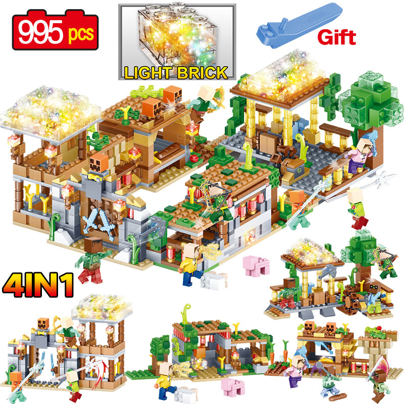 Crystal Light Action Toy Figures Building Blocks Educational Toy My world Compatible LegoINGLYS Minecrafter Toys for Children qunlong toys compatible legos minecraft city model building blocks diy my world action figures bricks educational boy girl toy
