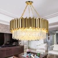 Modern Chandelier Lighting Living Room Gold Crystal Lamp Luxury Stainless Steel LED light