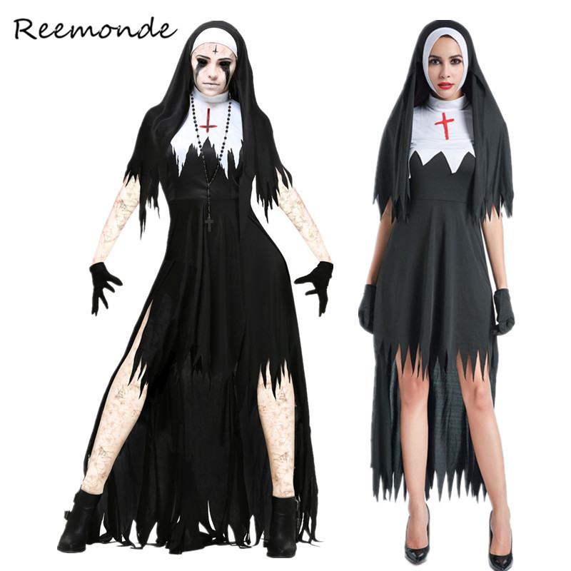 Virgin Mary The Nun Cosplay Costumes For Women Nun Sexy Black Long Dress Scarist Ghoulish Witch Halloween Vampire Fancy Clothes