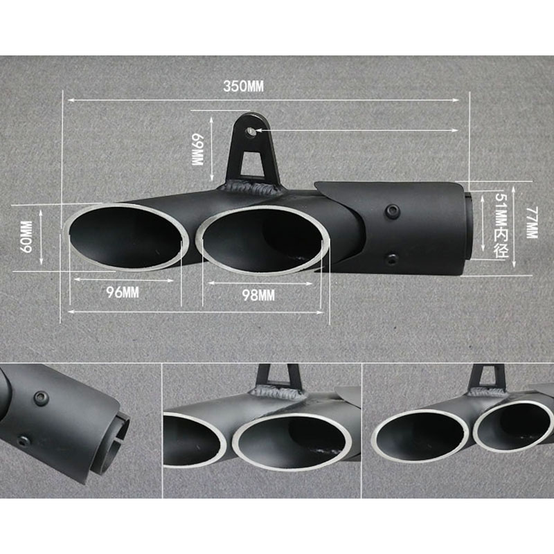 38 51mm Dual outlet Aluminum alloy Exhaust Pipe Modified Motorcycle Left and Right Silencer System For Yamaha R6 1 Kawasaki ZX6R in Exhaust Exhaust Systems from Automobiles Motorcycles