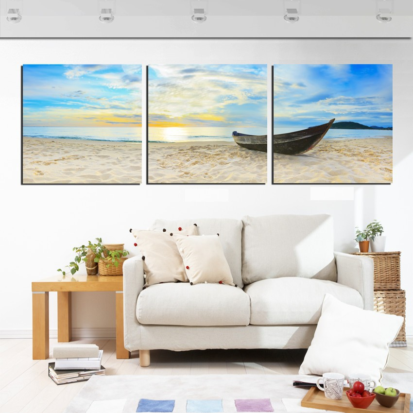 3 Piece Home Decor Canvas The soft Sand Beach Boat Full ...