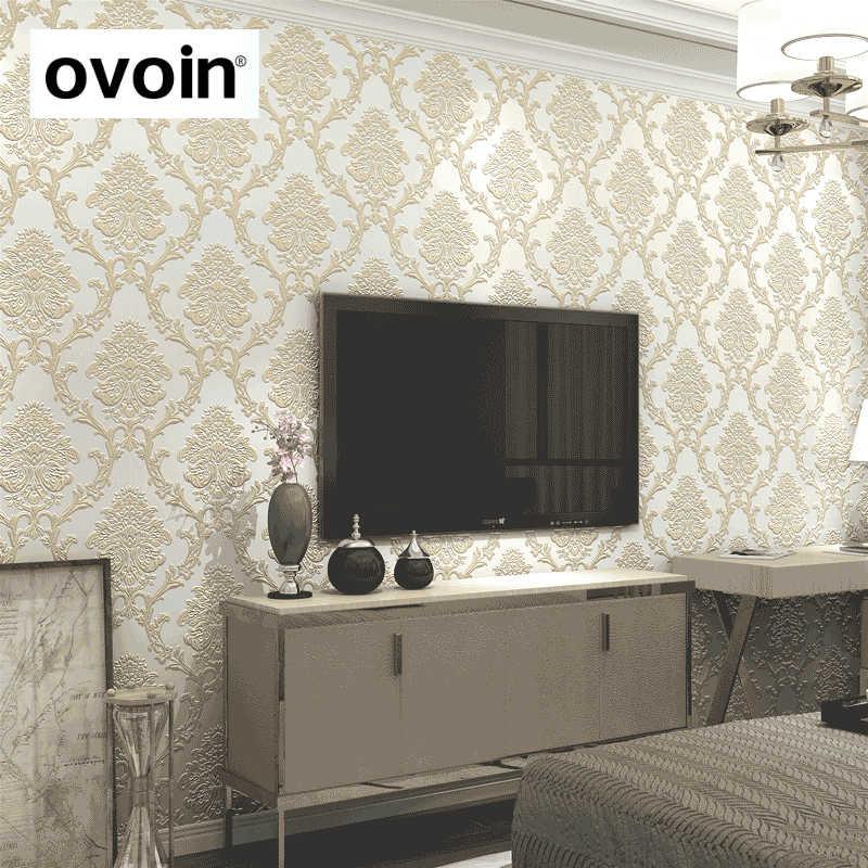 Papier peint gaufré stéréoscopique 3d damassé blanc or de luxe papier peint non tissé rouleau chambre salon couverture murale bleu sarcelle