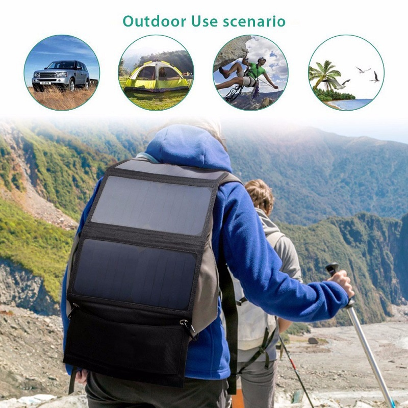 BUHESHUI 21W Foldable Solar Charger For Mobile Phone/Power Bank Battery Charger Sunpower Dual USB Solar Panel 3pcs Free Shipping allpowers 18v 21w usb solar power bank camping travel folding foldable outdoor usb solar panel charger for mobile phone laptop