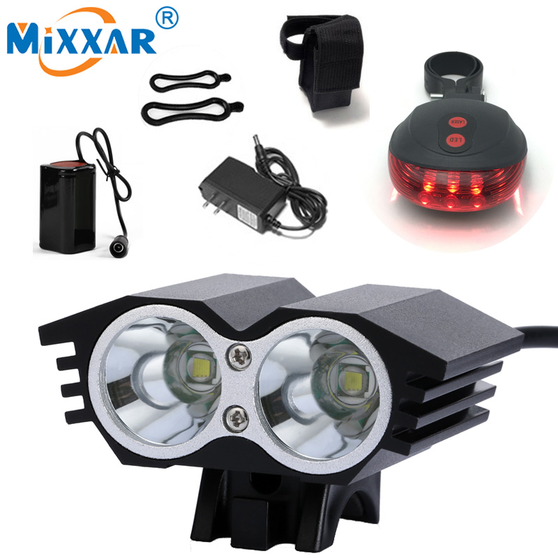 NEW 2x T6 LED Cycling Bike Bicycle Light 7000LM Head front Light 4 Mode Rechargeable Battery Headlight Lamp + Safety Tail Light