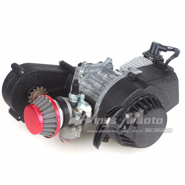 US $44 72 |49cc 2 stroke Pocket Mini Dirt Bike ATV Engine with Gear Box 14T  T8F Sprocket New Metal Recoil Racing Air Filter-in Engines from