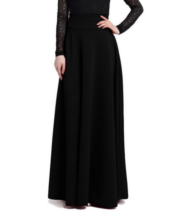 2019 New Arrival Long Skirts For Women Muslim Maxi Dress Black Red Ball Gown Islamic Skirts
