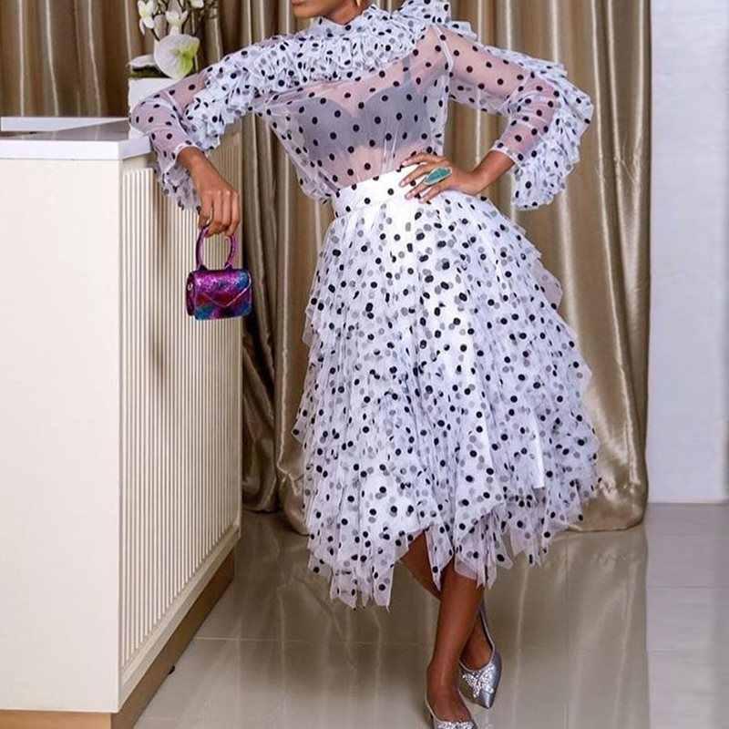 Женские вечерние Клубные платья 2019 прозрачное летнее женское платье в горошек с высокой талией вечернее Ретро платье халат