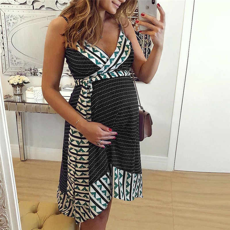 fashion Women Pregnant Maternity Nursing Stripe Breastfeeding Summer Backless Dress beach clothes for pregnant women zomer jurk