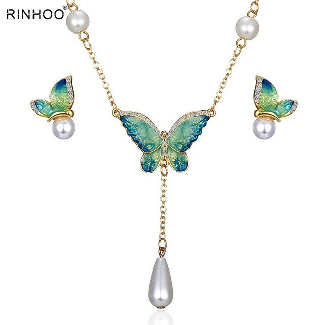 Crystal Bridal Jewelry Sets Butterfly Bracelet Earrings Sets Wedding African Bea