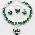 Round Green Imitated Emerald Topaz Silver Color Women Jewelry Sets Necklace Pendant Drop Earrings Rings  Bracele Christmas Gift