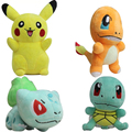 Diccount 4Pcs/Lot Plush Toys Pikachu & Bulbasaur &Squirtle & Charmander Anime Movie Plush Toy Stuffed Animals Plush Doll