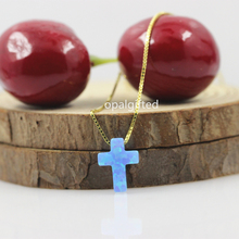 цена на (1pc/lot)Free Shipping Blue 9*12mm Synthetic cross Opal necklace 925 Silver Gold chain Necklace cross necklace wholesale price
