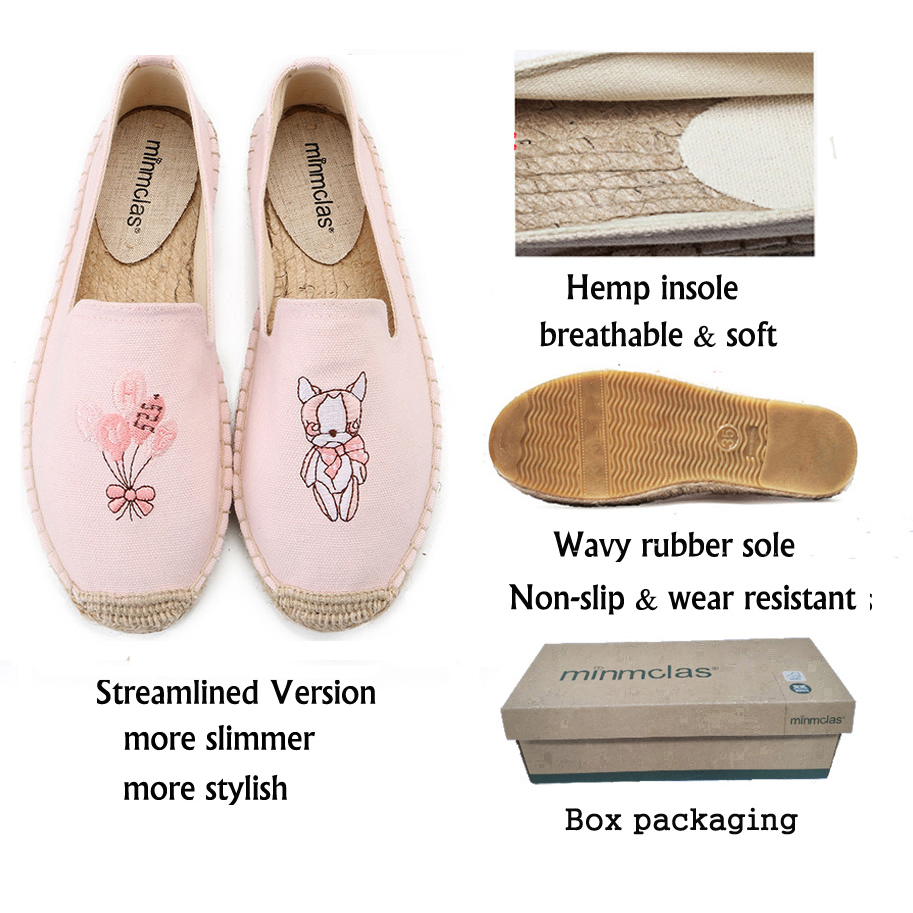 MInmclas Slippers Embroidery Cute Comfortable Ladies Womens Casual Espadrilles Shoes Breathable Flax Hemp Canvas for Lovely in Women 39 s Flats from Shoes