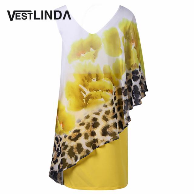 VESTLINDA Novelty Summer Floral Leopard Capelet Dress 2017 V-Neck Women Party Dresses Sexy Sheath Femme Vestidos Short Dress