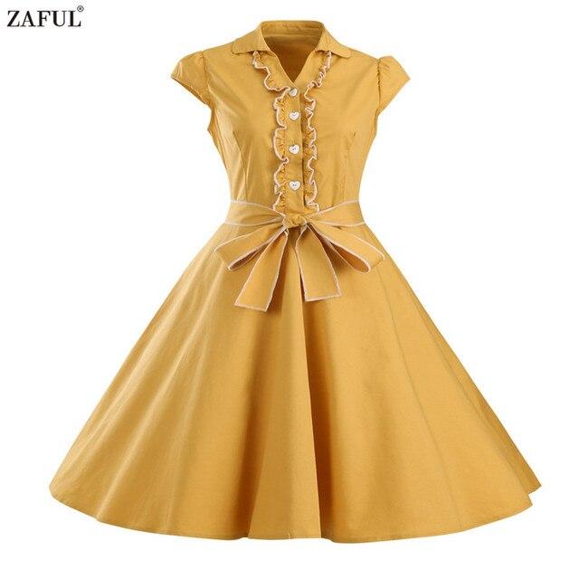 Zaful марка 6 цвет старинные летние женщины dress пояса ретро feminino vestidos халат рокабилли хепберн 50 s туника платья плюс размер