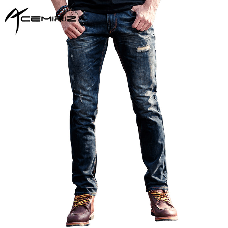 ACEMIRIZ Brand Clothing Summer Jeans Men High Quality Fashion Casual Male Denim Trousers Blue Dark Blue Men Pant FH-60035 jeans men s blue slim fit fashion denim pencil pant high quality hole brand youth pop male cotton casual trousers pant gent life