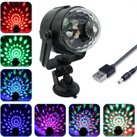 Auto Roating Disco Ball Stage Light Crystal Magic Laser Projector DMX DC5V 3W USB Powered Car