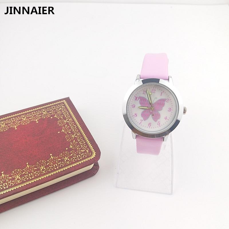 10 Units/lot Wholesales Fashion Cartoon Butterfly Watches Kids Girls Leather Straps Quartz Wrist Watch Cute Clock Watch Vestidos