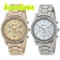 Bowaiwen #0052 Casal relógios 2 PC Prata e Banhado A Ouro Clássico Rodada Senhoras Relógio Namorada e Namorado presente perfeito