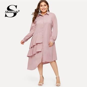 Sheinside Plus Size Pink Casual Ruffle Detail Shirt Dress Women 2019 Spring Asymmetrical Hem Midi Dresses Ladies Straight Dress