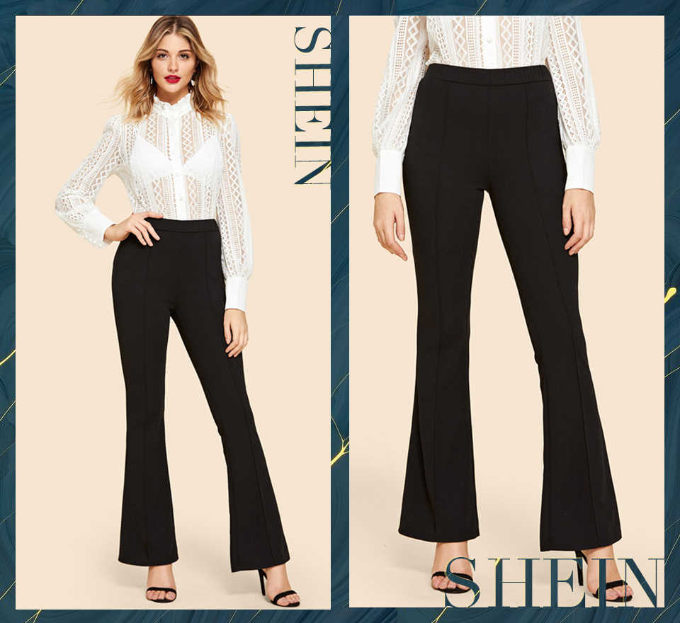 SHEIN Black Vintage Solid Contrast Binding Flare Leg Elastic Waist Elegant Pants Autumn Office Lady Workwear Women Trousers 4