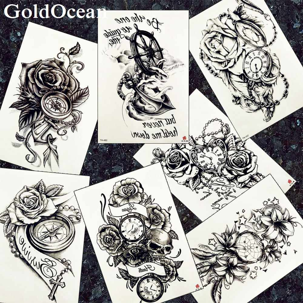9eef37dcee03c Detail Feedback Questions about GoldOcean Sexy Black Fake Tattoos Arm  Stickers Anchor Clock Flower Tattoos Temporary Girls Chains Sketch Flora  Tatoos ...