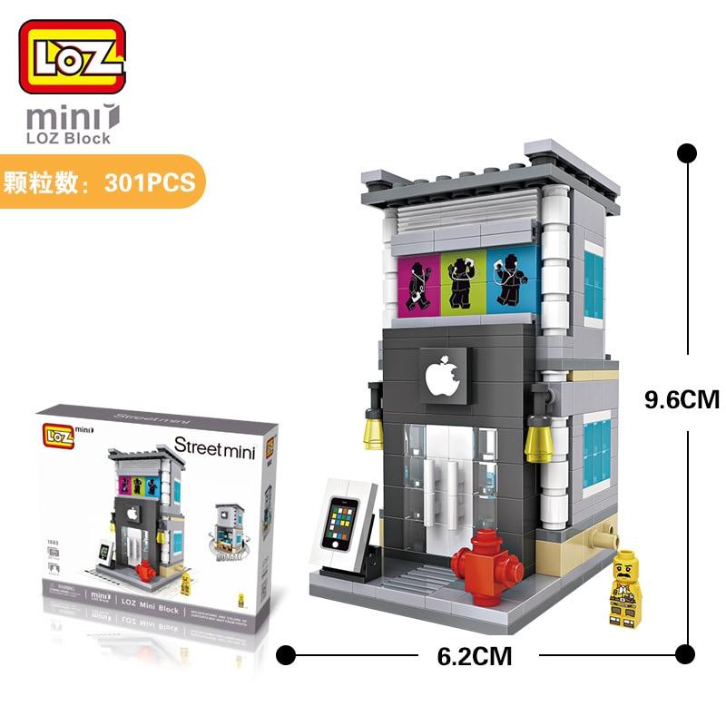 Mini Blocs LOZ Ville Rue Createur Blocs Jouet Maison Modele Briques Jeu De construction Téléphone DIY Ville Blocs Briques