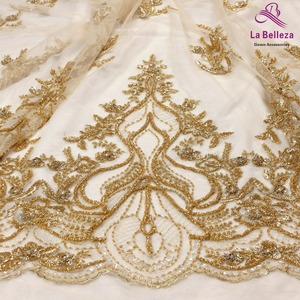 La Belleza 2019 New wedding dress lace fabric new design lace,silver GOLD beaded lace fabric crystal lace 1 yard(China)