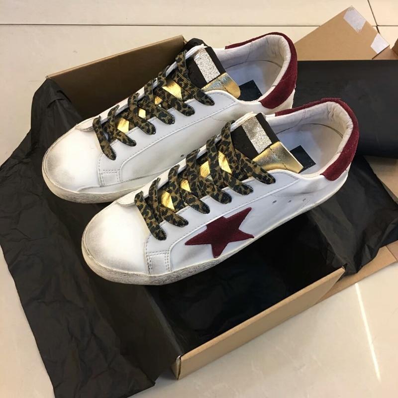 Disegno Dorato del Cuoio Genuino Casual Trainer Sport Star fare vecchio Sporco Scarpe Calzature Zapatillas basket Scarpe Donna Tenis Feminino