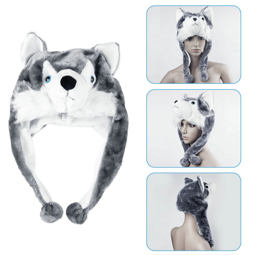 Cartoon Animal Style Hood Wolf Hat Hoods   Beanies   Cute Fluffy Kids Caps Soft Warm Scarf Earmuff Plush Huskies Hats