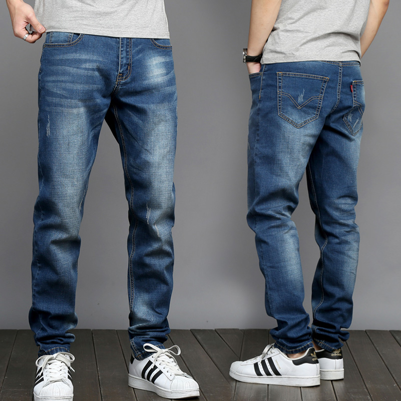 2018 Thin New Mens Fashion Jeans Business Casual Stretch Slim Youth Mens Straight Jeans Classic Trousers Denim Pants CL4654.