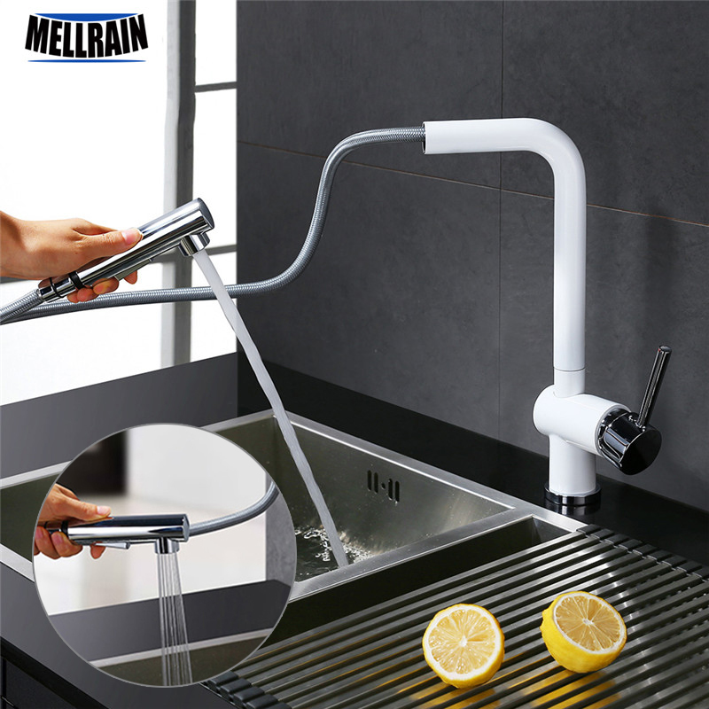 Kitchen sink sanitary ware pure white kitchen faucet rotaion and pull out kitchen mixer