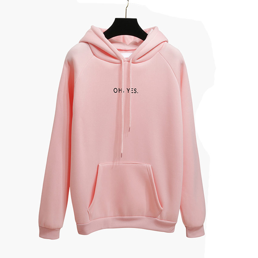 OH YES New Fashion Corduroy Long sleeves Letter Harajuku Print Light pink Pullovers Tops O-neck Women's Hooded sweatshirt tops 21