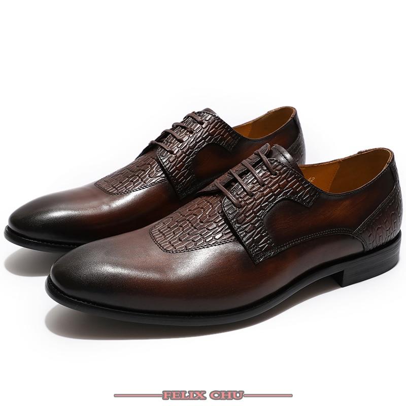 Ayakk.'ten Resmi Ayakkabılar'de Lüks Marka Erkek Elbise Ayakkabı Deri Kahve siyah ayakkabı Konfor Derby Lace up Sivri Burun Ayakkabı Ofis Resmi Düğün Ayakkabı Erkekler'da  Grup 1
