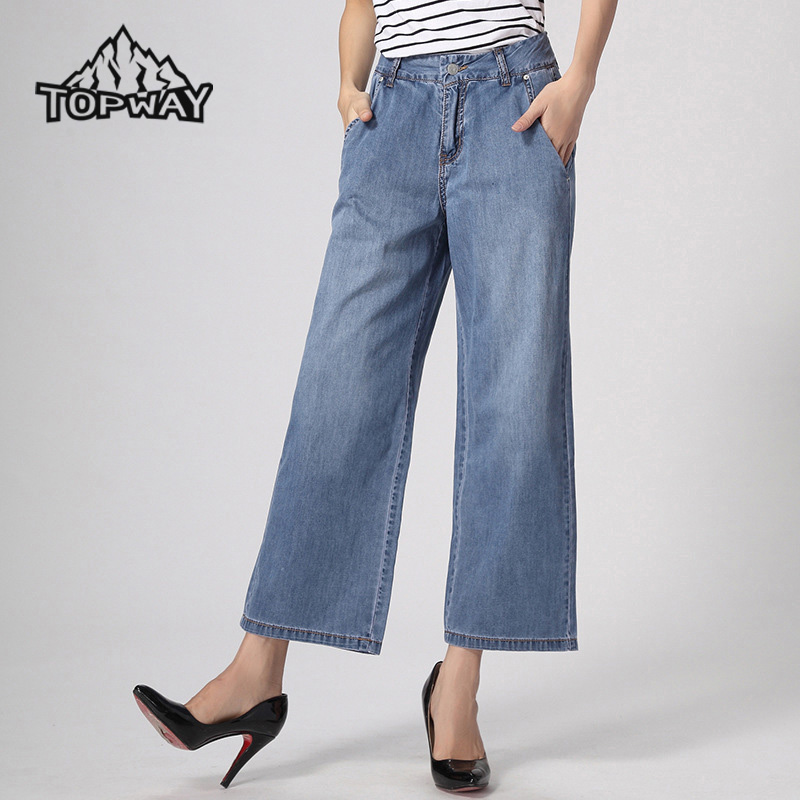 2017 Women Loose Medium Waist Pantalones Vaqueros Mujer Flared Bell Bottom Denim Trousers Straight Wide Leg Jeans Woman Pants womens ripped jeans with embroidery summer 2017 ladies straight cotton denim casual pants pantalones vaqueros mujer garemay 2610