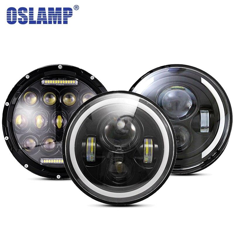 Oslamp 30 w 7 pouces Ronde Led Phare Haut de Croisement Lumière Halo Angle Yeux DRL Phare Pour Jeep Wrangler hors Route 4x4 Moto