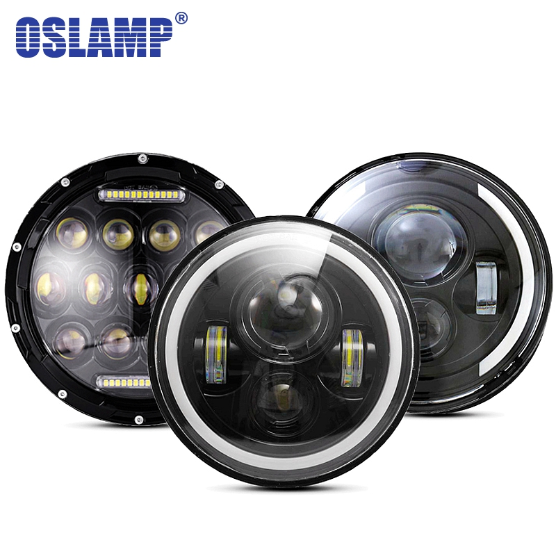 Oslamp 30W 7inch Round Led Headlight High Low Beam Light Halo Angle Eyes DRL Headlamp For Jeep Wrangler Off Road 4x4 Motorcycle 7inch round halo headlights 45w wrangler jk high low beam headlamp 7 angel eyes projector head light for jeep land rover