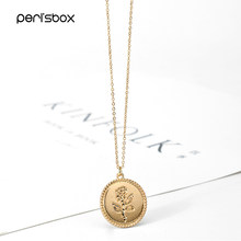 Peri'sBox Boho Style Rose Flower Coin Layered Necklaces for Women Dainty Charms Chokers Chic Disc Pendant Necklaces Wholesale(China)