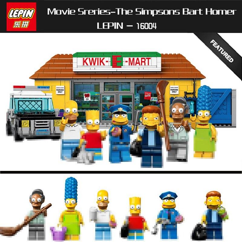 IN STOCK LEPIN Series Movie 16004 The Simpsons Bart Homer Kwik-E-Mart Lepin Model 2232pcs Building Block Bricks Compatible 71016 конструктор lepin creators simpsons магазин на скорую руку 2220 дет 16004