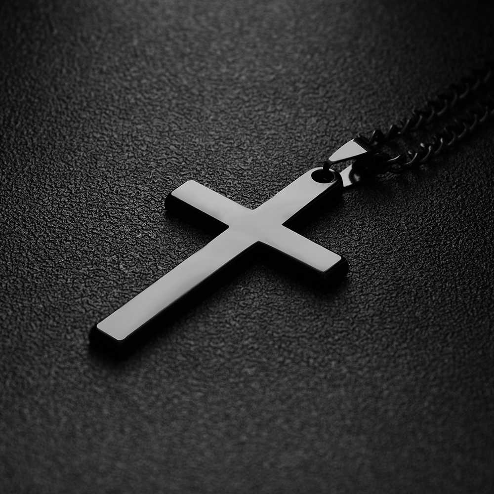 Men Cross Pendant Necklace Stainless Steel Link Chain Gold/Silver Plated Alloy Necklace Statement Jewelry